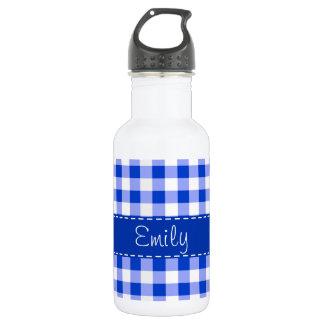 青いギンガムパターン ウォーターボトル