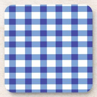 青いギンガム コースター
