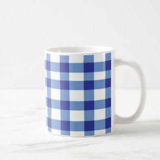 青いギンガム コーヒーマグカップ