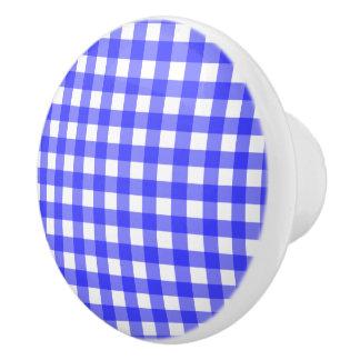 青いギンガム セラミックノブ