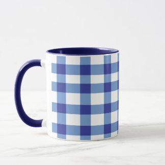 青いギンガム マグカップ