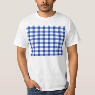 青いギンガム Tシャツ