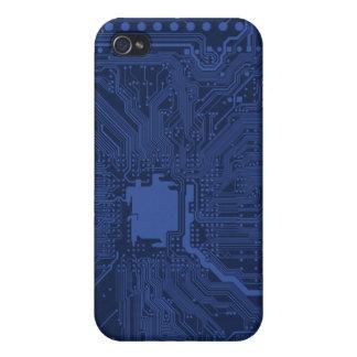 青いギークのマザーボードパターン iPhone 4/4S CASE