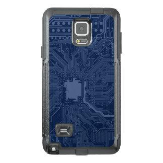 青いギークのマザーボード回路パターン オッターボックスSamsung NOTE 4ケース