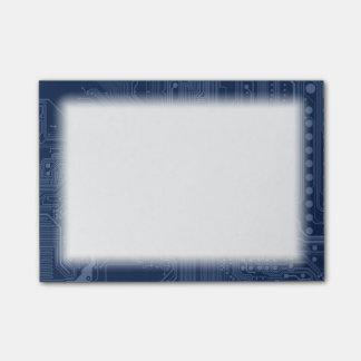 青いギークのマザーボード回路パターン ポストイット