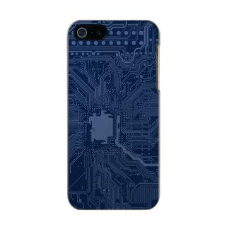 青いギークのマザーボード回路パターン メタリックiPhone SE/5/5sケース