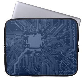 青いギークのマザーボード回路パターン ラップトップスリーブ