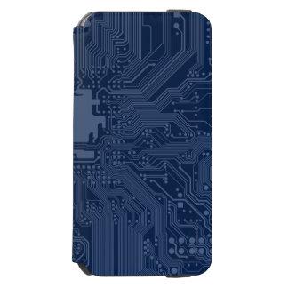 青いギークのマザーボード回路パターン iPhone 6/6Sウォレットケース