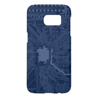 青いギークのマザーボード回路パターン SAMSUNG GALAXY S7 ケース