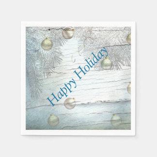 青いクリスマスのデザインの紙ナプキン スタンダードカクテルナプキン