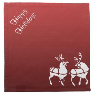 青いクリスマスのナプキンの名前入りで赤い休日 ナプキンクロス