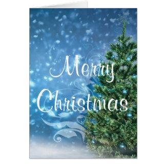 青いクリスマスの挨拶状 カード
