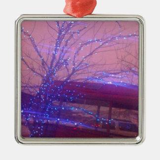 青いクリスマスの照明 メタルオーナメント