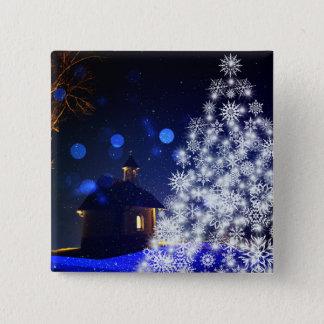 青いクリスマスの白の木 5.1CM 正方形バッジ