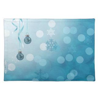 青いクリスマスオーナメント-布のランチョンマット ランチョンマット