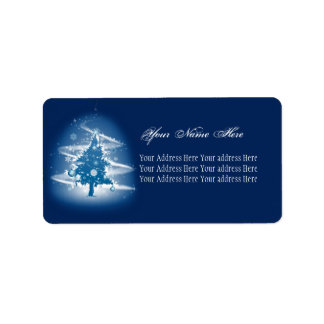 青いクリスマスツリーの空想のエレガントな装飾 ラベル
