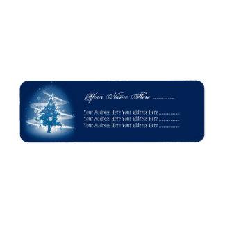 青いクリスマスツリーの空想のエレガントな装飾 返信用宛名ラベル