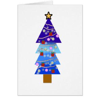 青いクリスマスツリーの空想 カード