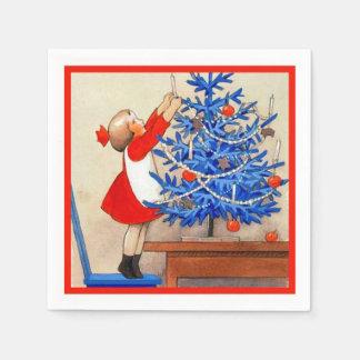 青いクリスマスツリーを持つ女の子 スタンダードカクテルナプキン
