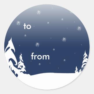 青いクリスマス ラウンドシール