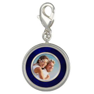 青いクロムフレームの写真の結婚式のテンプレート チャーム