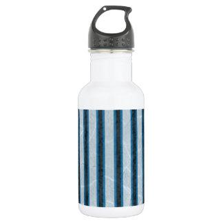 青いグランジ縞で飾ります ウォーターボトル