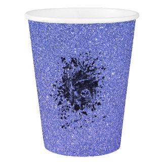 青いグリッターのゴリラ 紙コップ