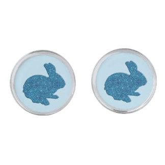 青いグリッターのシルエットのイースターのウサギのカフスボタン 銀色 カフリンク