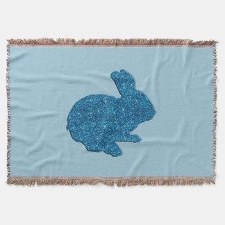 青いグリッターのシルエットのイースターのウサギのブランケット スローブランケット
