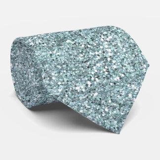 青いグリッターのタイ ネクタイ