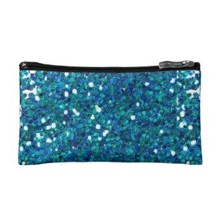 青いグリッターのバッグ コスメティックバッグ
