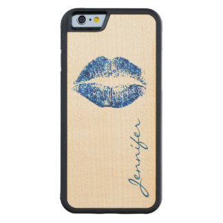 青いグリッターの唇 CarvedメープルiPhone 6バンパーケース