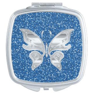 青いグリッターの抽象的でエレガントな蝶