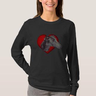 青いグレイハウンドの顔の赤いハート犬のワイシャツ Tシャツ