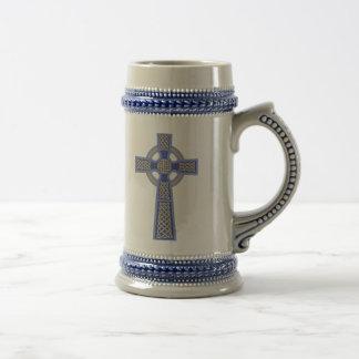 青いケルト十字ビールステイン ビールジョッキ