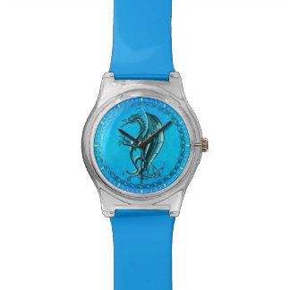 青いケルト族のドラゴン 腕時計
