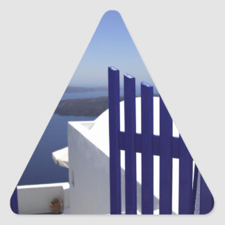 青いゲート 三角形シール