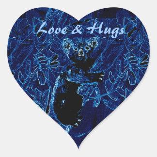 青いコアラの木の抱擁芸術 ハートシール