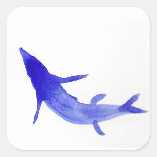 青いコイの魚 スクエアシール