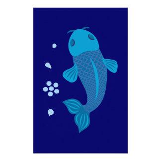青いコイの魚 便箋