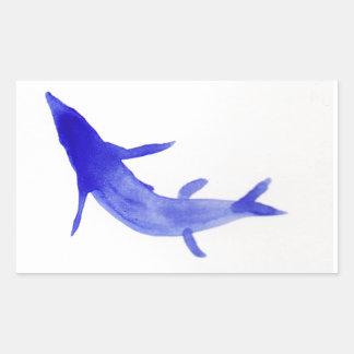 青いコイの魚 長方形シール