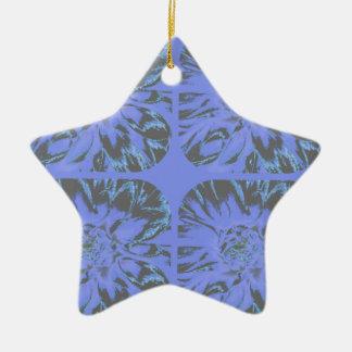 青いコラージュのダリアの花模様 陶器製星型オーナメント