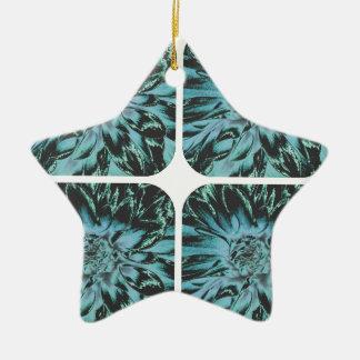 青いコラージュの花のダリアの花模様 陶器製星型オーナメント