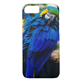 青いコンゴウインコのオウム、エキゾチックな熱帯鳥 iPhone 8/7ケース