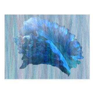 青いコンシュの貝殻の芸術 ポストカード
