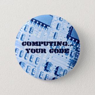 青いコンピュータマザーボード 5.7CM 丸型バッジ