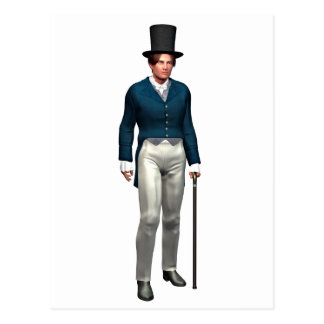 青いコートのビクトリアンな紳士 ポストカード