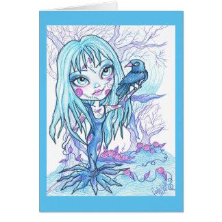 青いゴシックの女の子のハロウィンのファンタジーの芸術カード カード