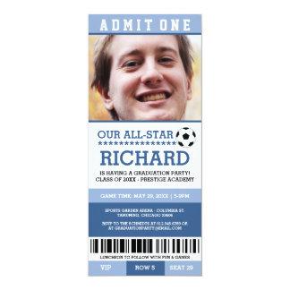 青いサッカーの卒業パーティーの招待 10.2 X 23.5 インビテーションカード