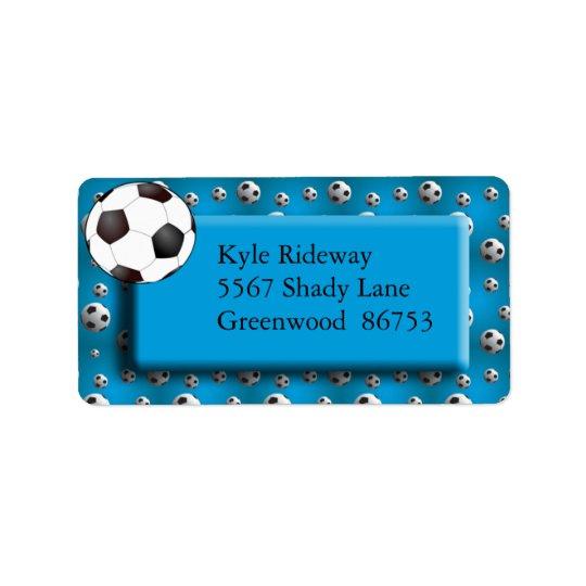 青いサッカーボールの宛名ラベル ラベル